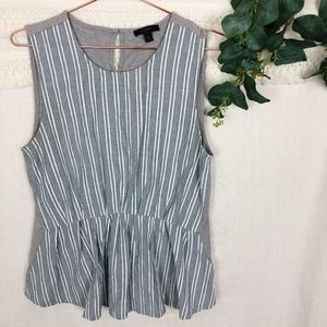 J Crew | Blue Striped Cinched Front Tank Top | M